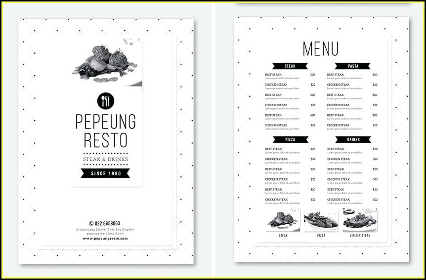 Adobe Illustrator Restaurant Menu Template