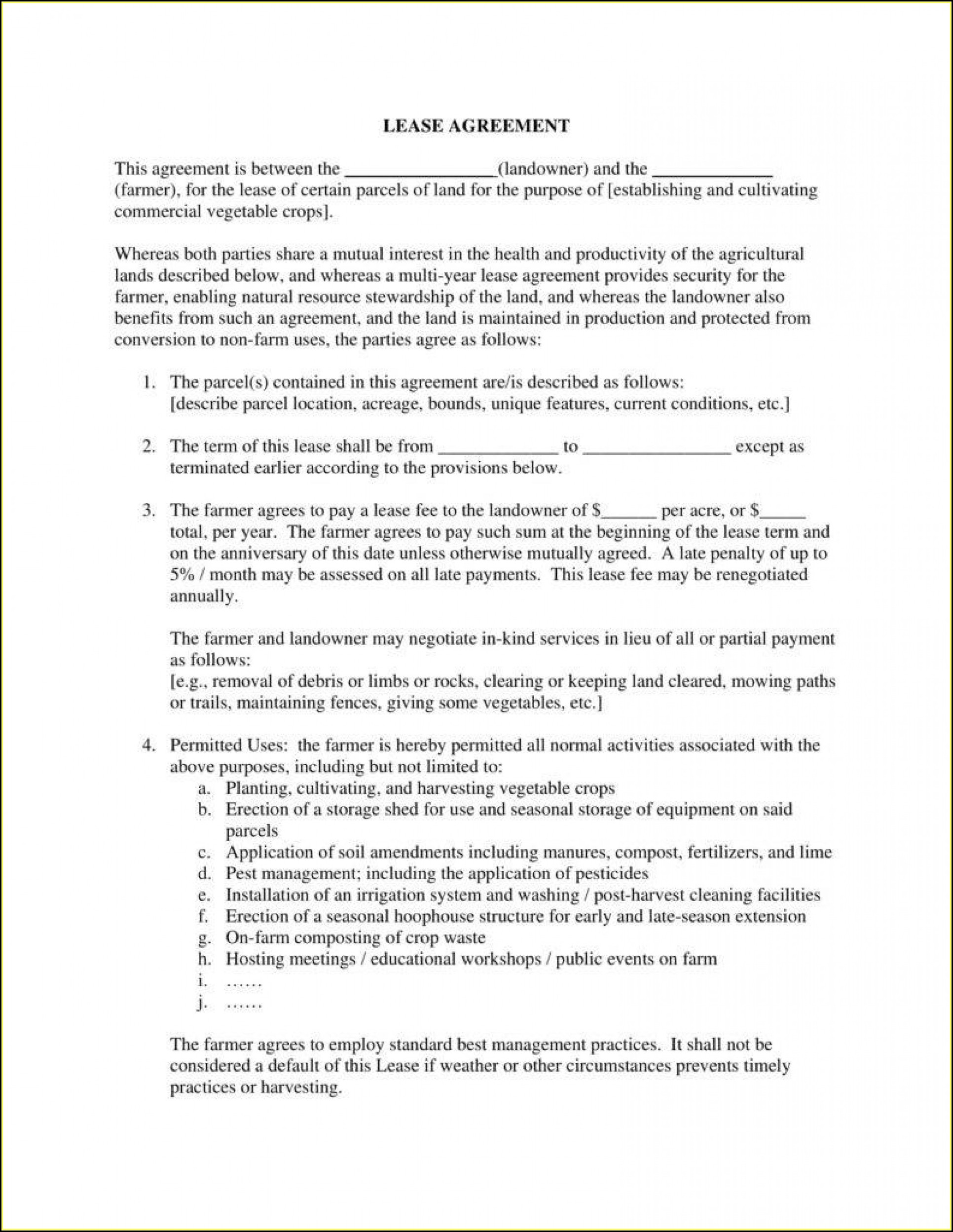 Agricultural Land Lease Agreement Template