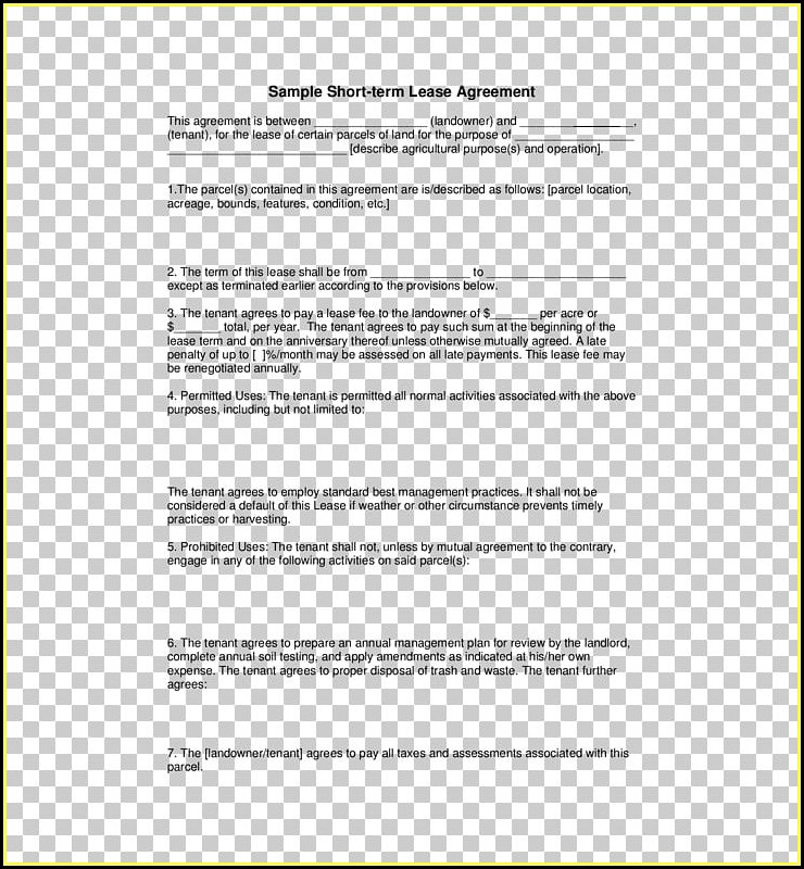 Agricultural Lease Agreement Template
