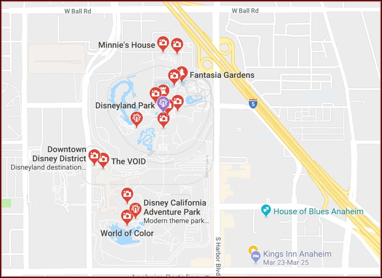 Anaheim Map Hotels Near Disneyland