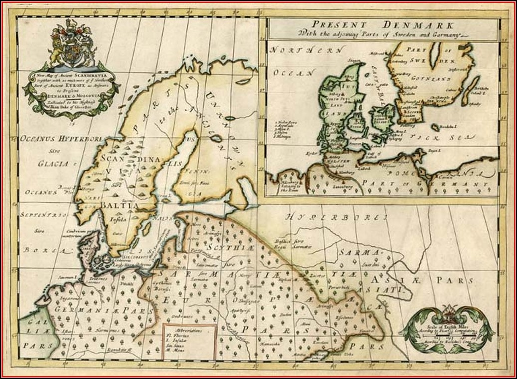 Ancient Map Of Scandinavia