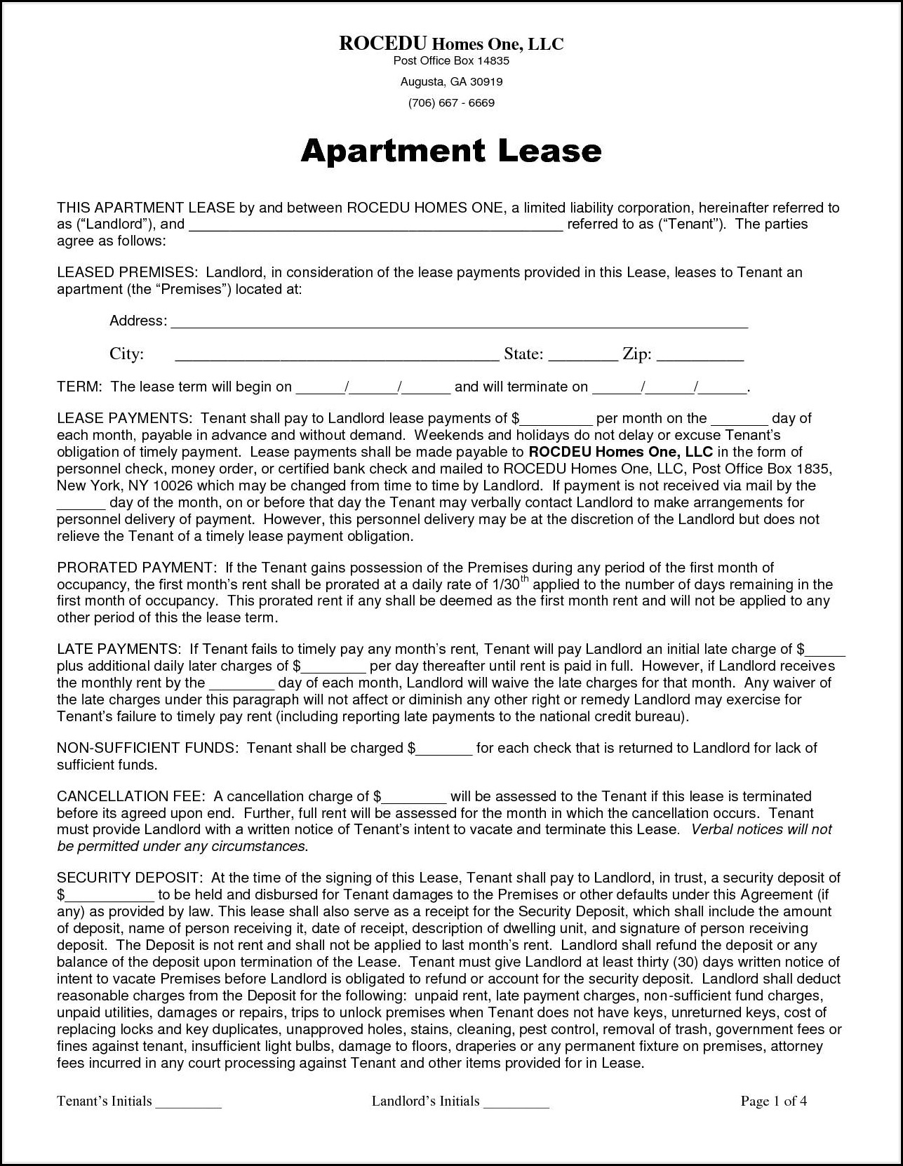 Apartment Lease Template Ny
