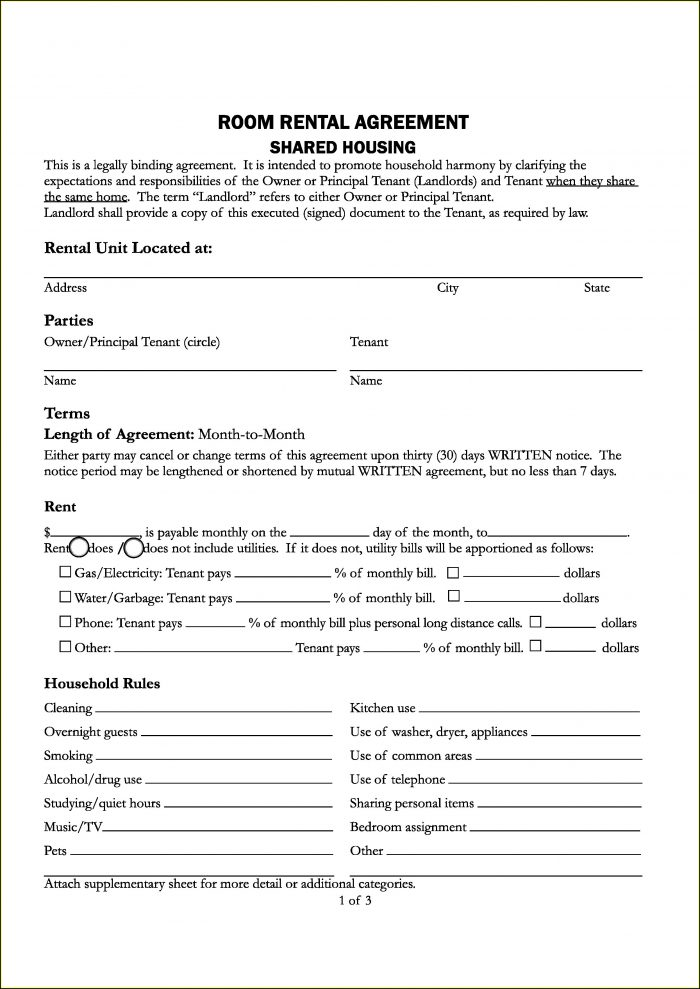 Apartment Lease Template Pdf