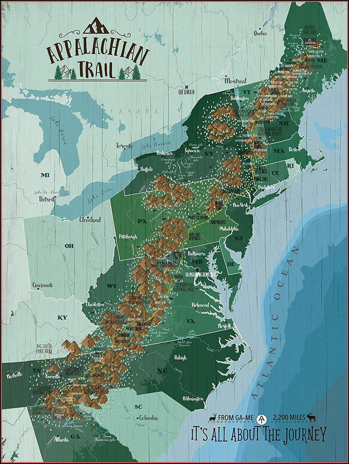 Appalachian Trail Poster Map
