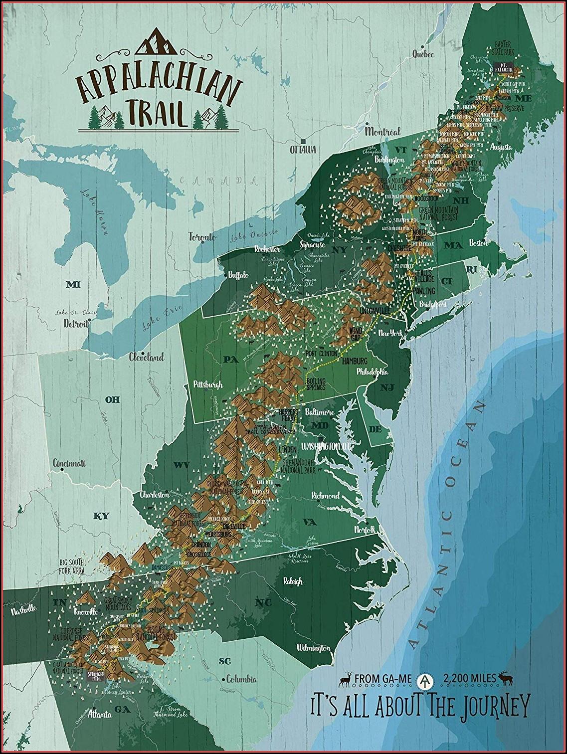 Appalachian Trail Poster Map