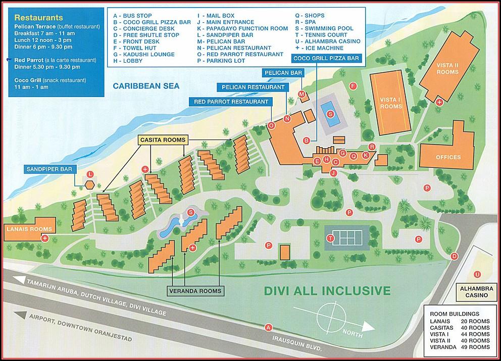 Aruba Palm Beach Hotels Map