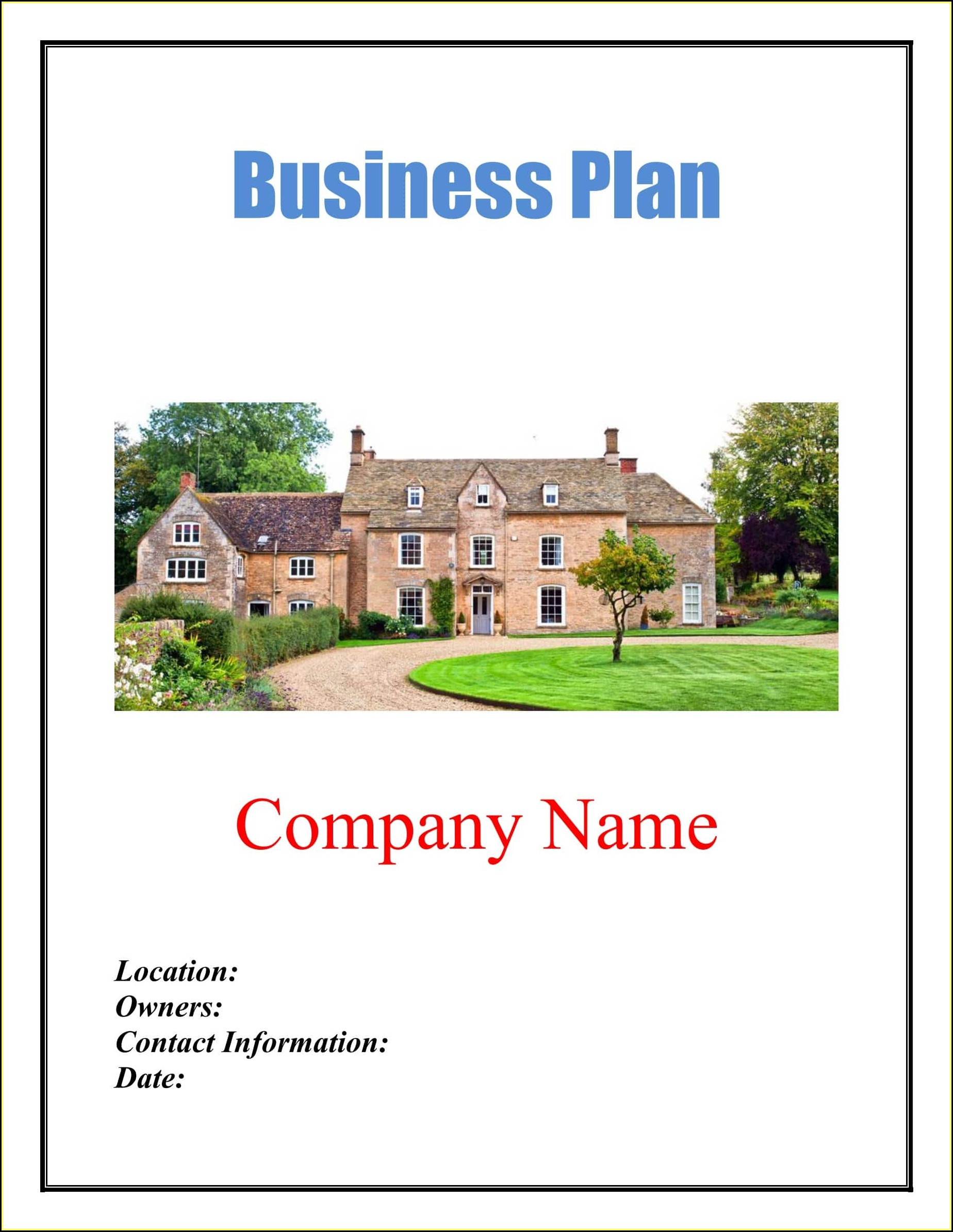 Bed And Breakfast Business Plan Template