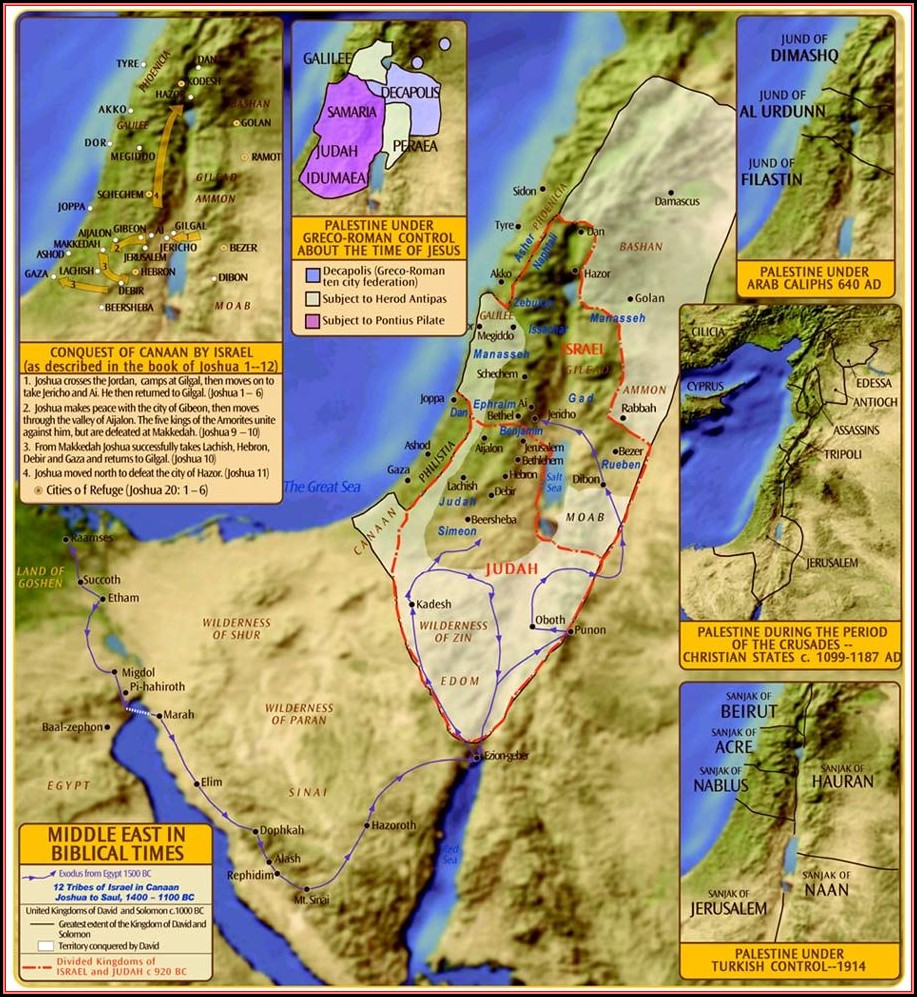 Biblical Map Of Israel And Palestine