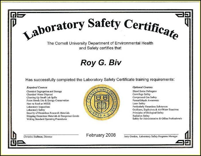 Bloodborne Pathogens Certificate Template