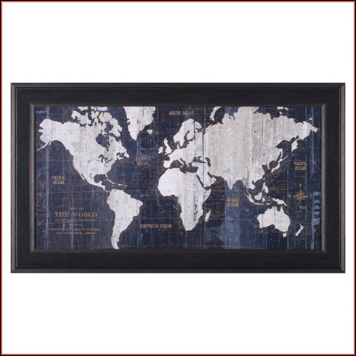 Blue Old World Map Framed