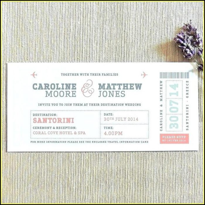 Boarding Pass Wedding Invitations Template Free Download