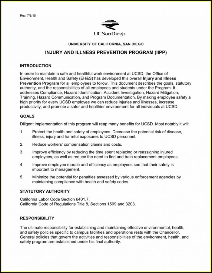 Cal Osha Iipp Requirements