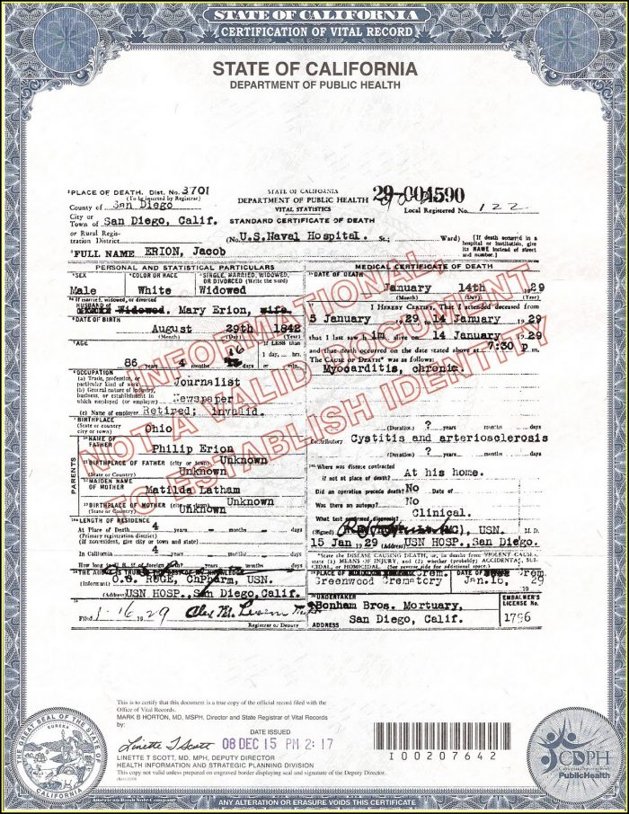 California Birth Certificate Template