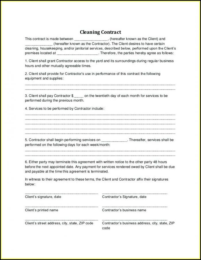 Carpet Cleaning Contracts Templates