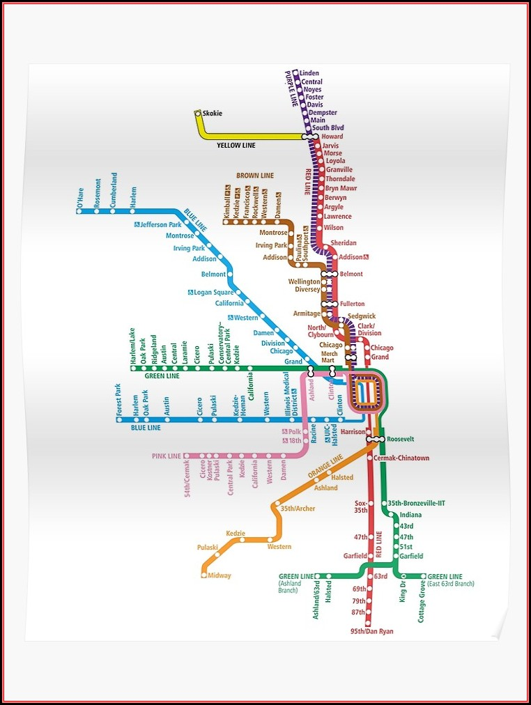 Chicago El Train Map Poster