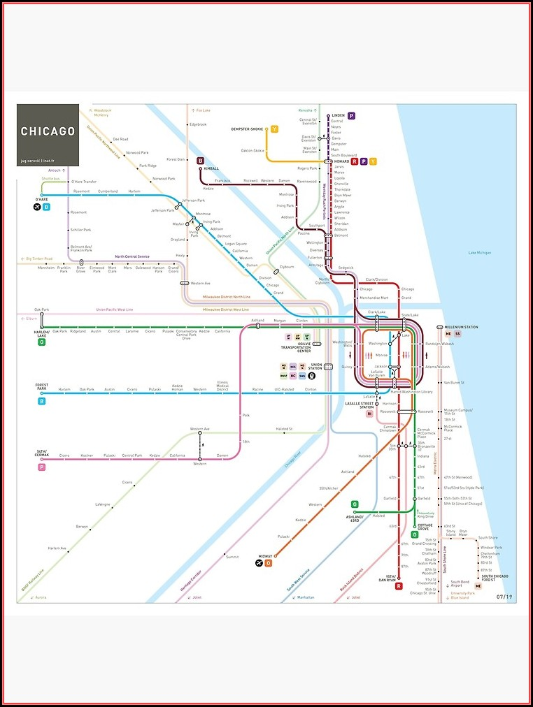 Chicago Subway Map Poster