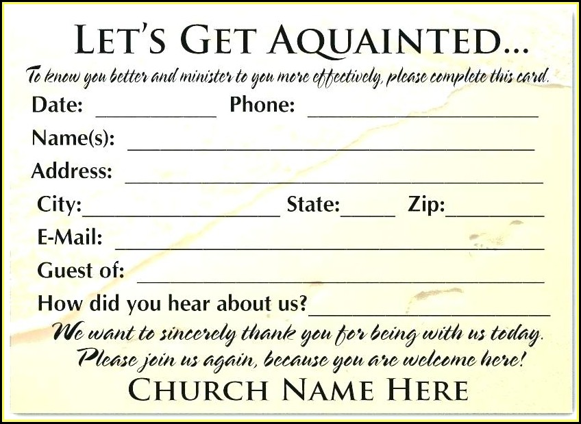 Church Guest Card Template