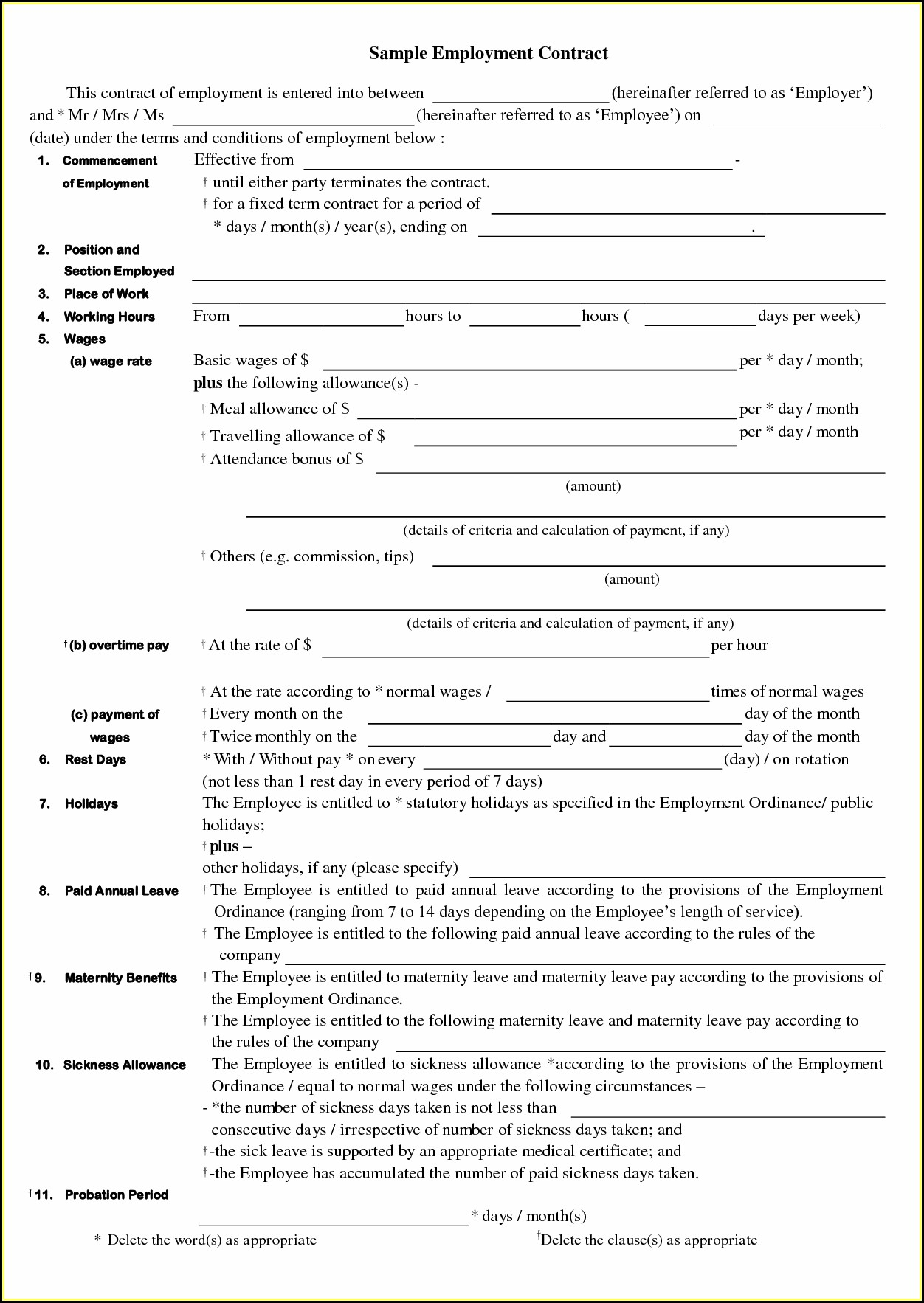 Cleaning Contracts Forms
