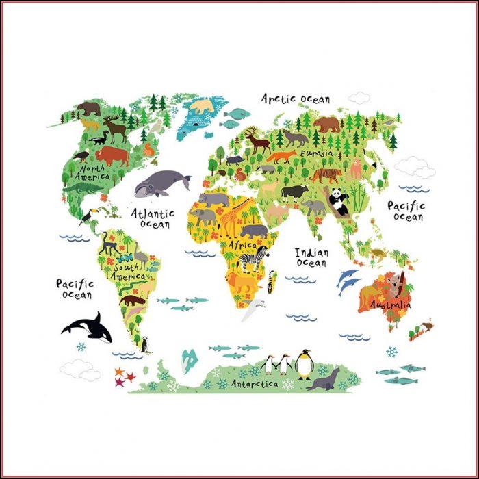 Colorful Animal World Map Wall Sticker