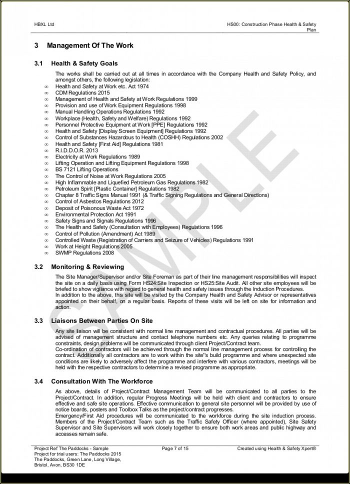 Construction Phase Health Safety Plan Template Free