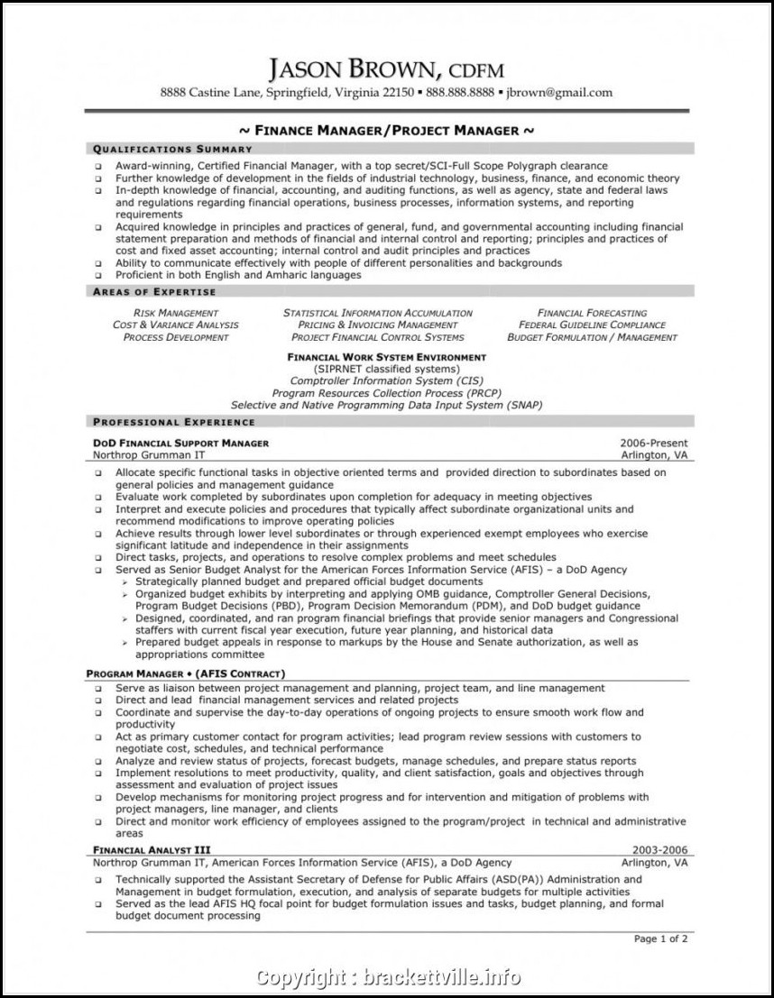 Construction Project Manager Resume Template Word
