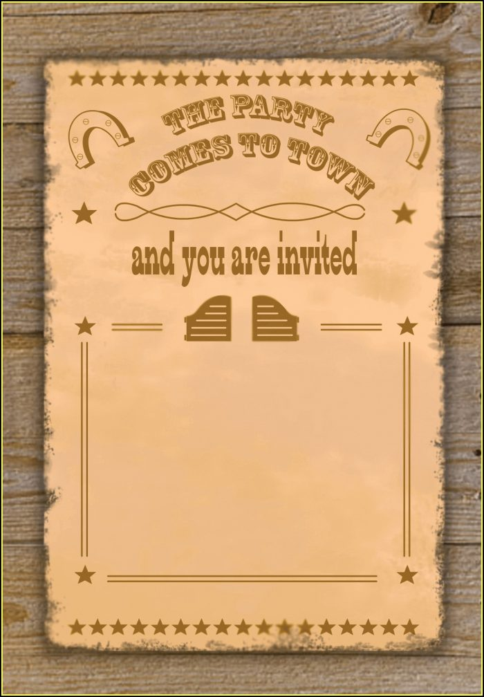 Cowboy Birthday Invitation Template