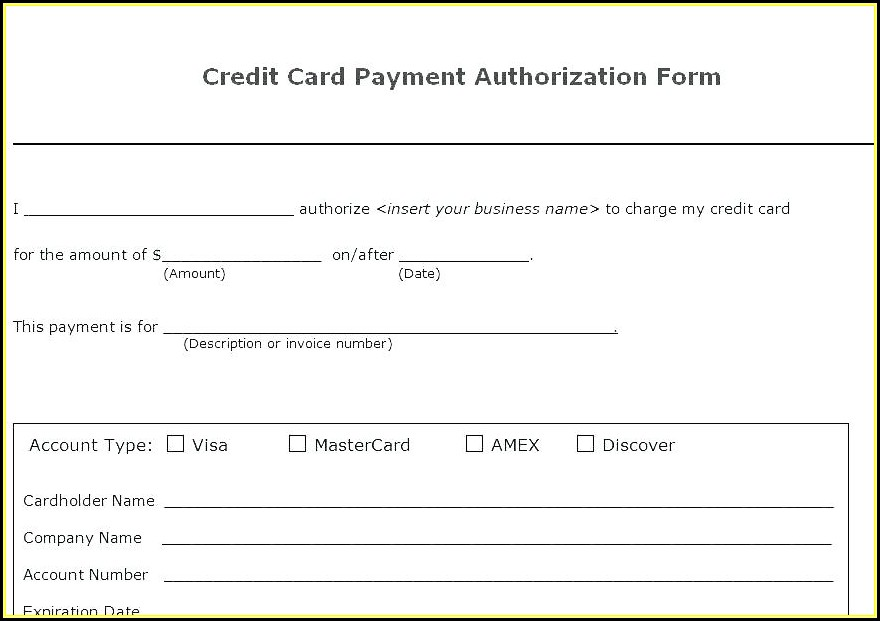 Credit Card Direct Debit Form Template