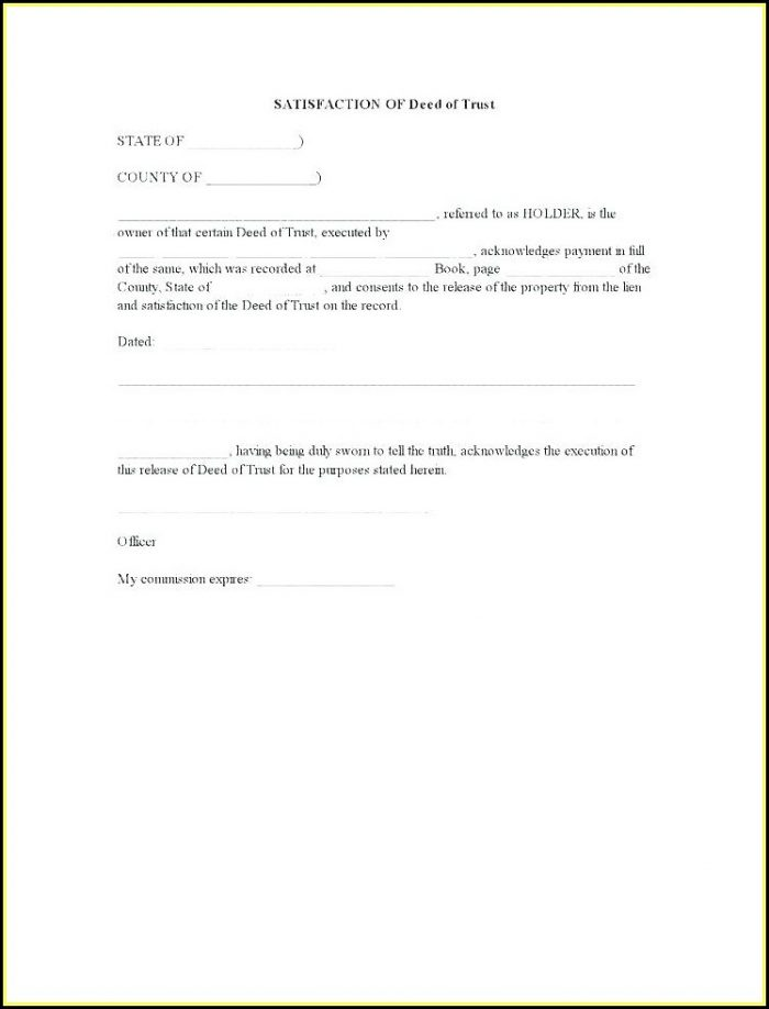 Deed Of Trust Template Free Uk