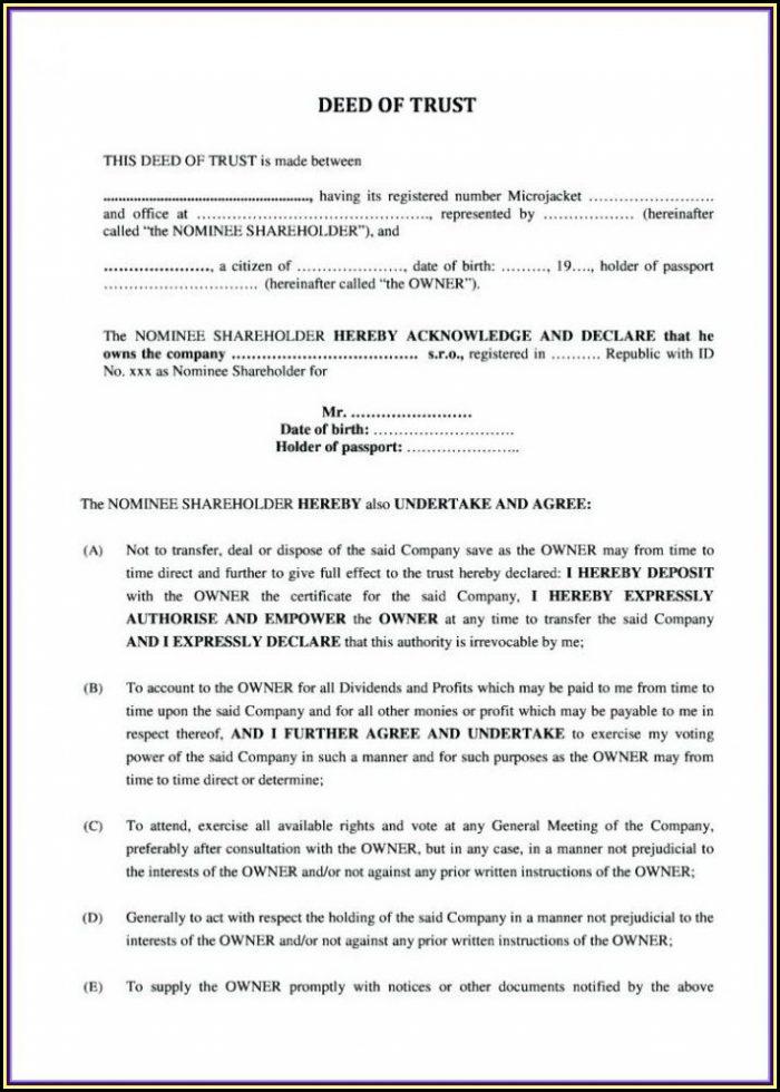Deed Of Trust Template Zimbabwe