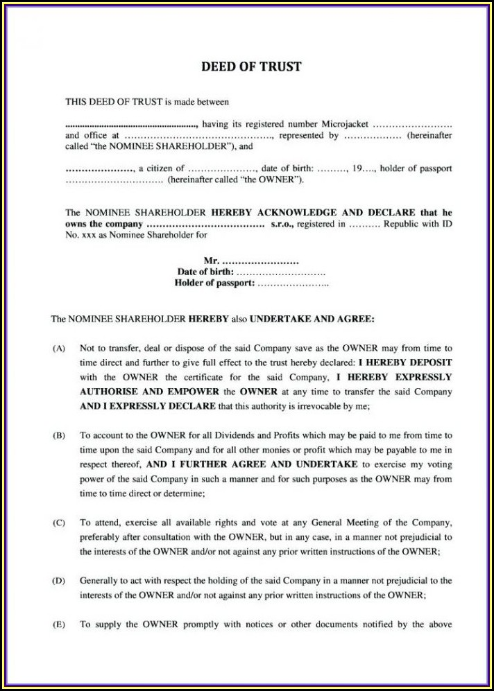 Deed Of Trust Template Zimbabwe