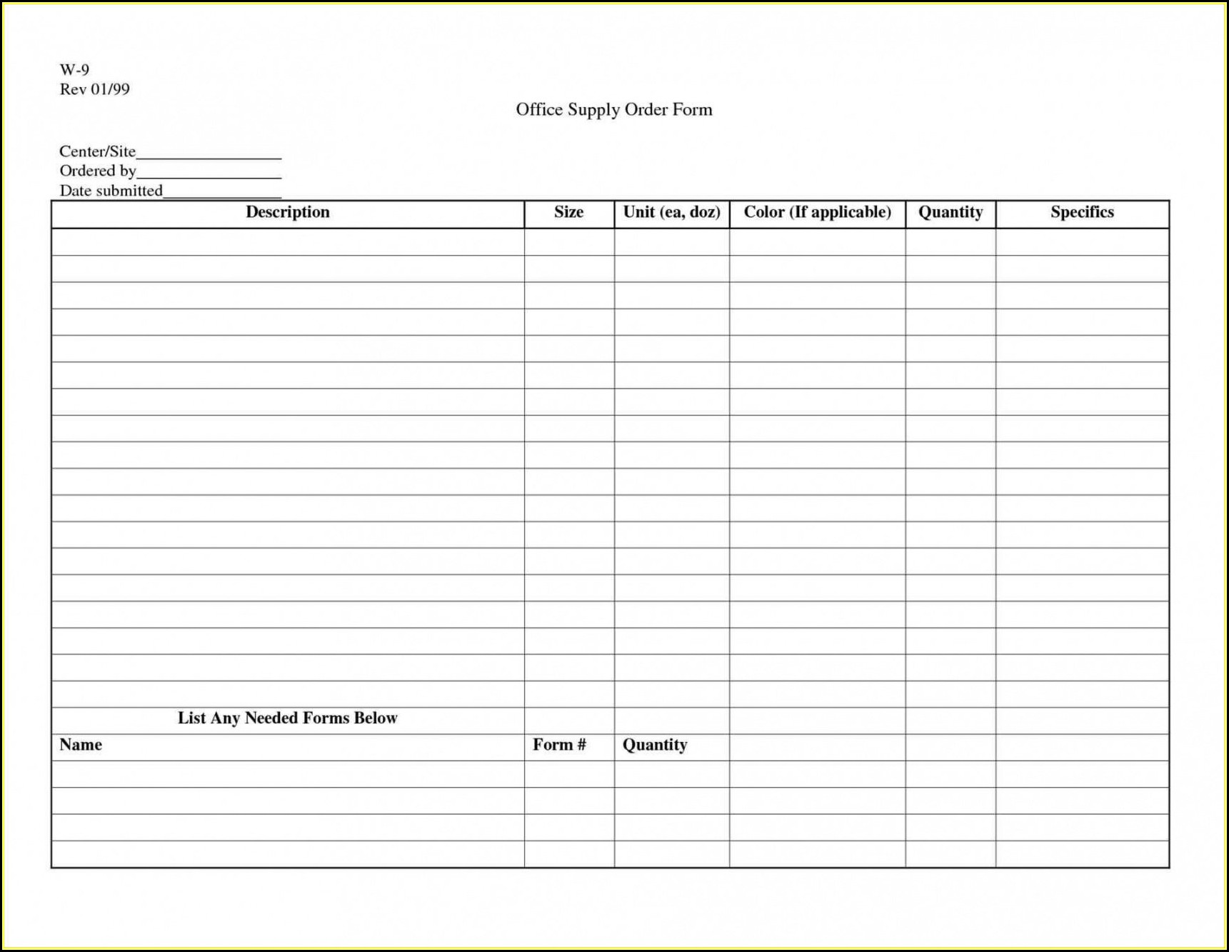 Dental Supply List Template