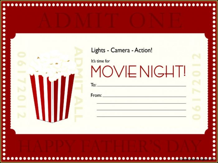 Dinner And A Movie Gift Certificate Template