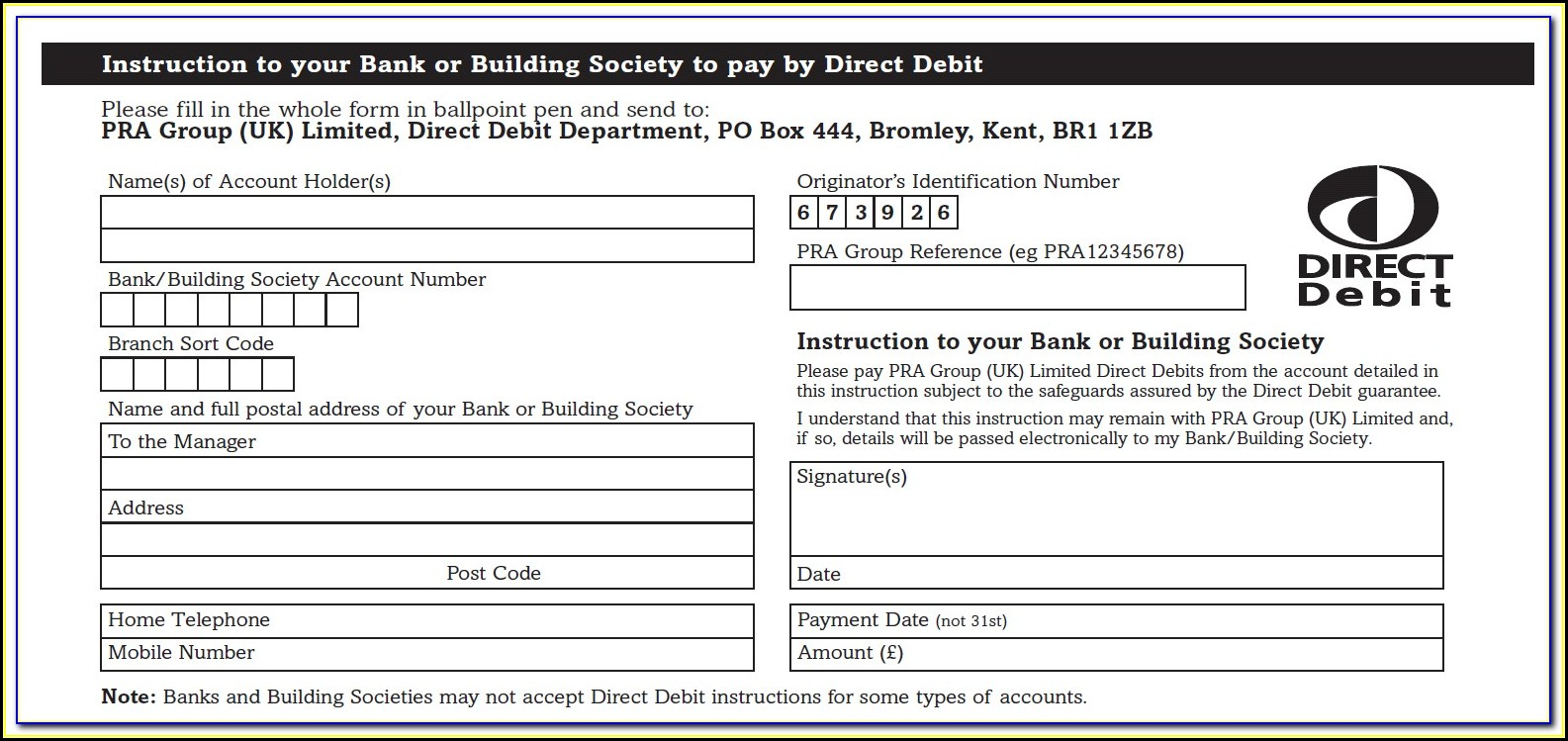 Direct Debit Form Template Australia