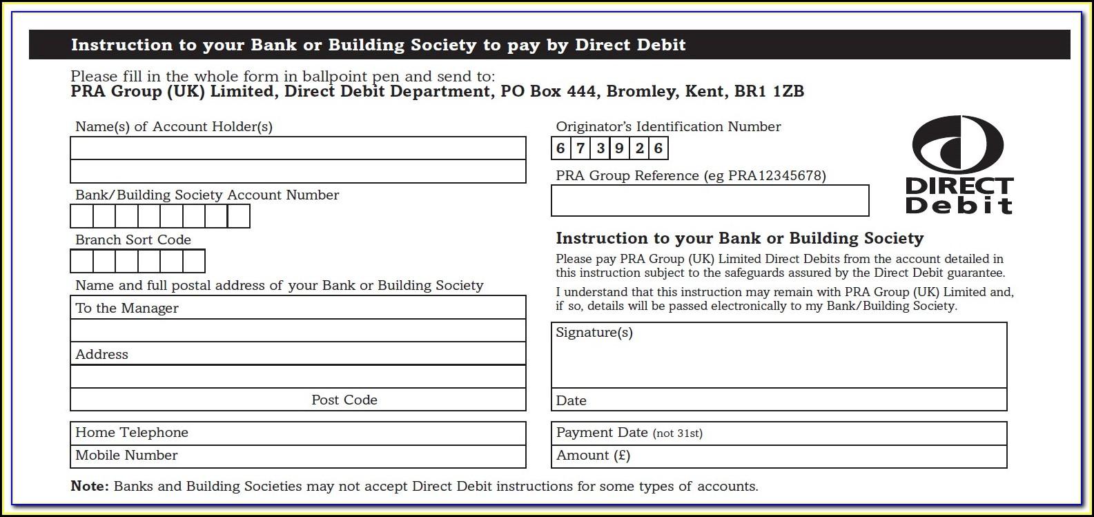 Direct Debit Form Template Australia