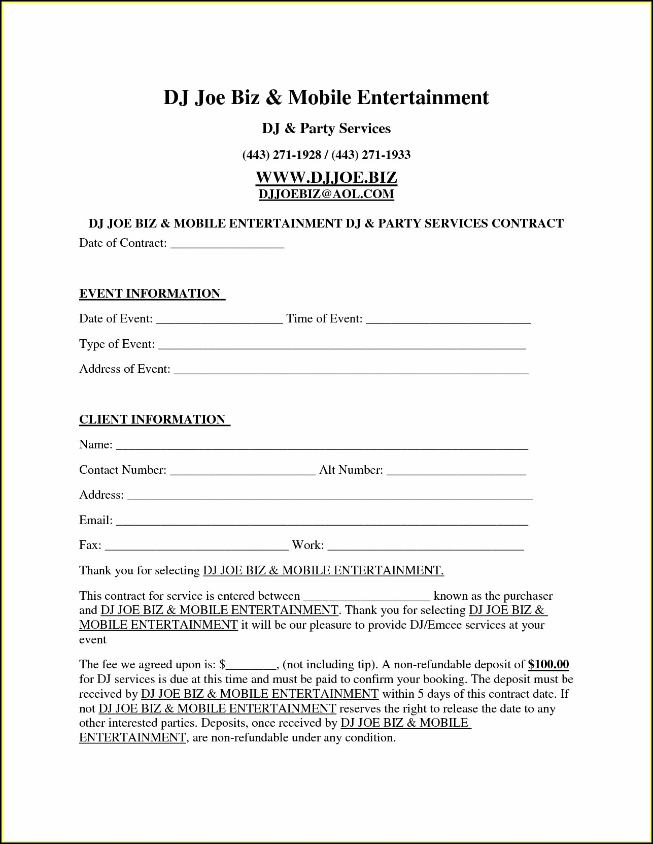 Dj Contracts Templates