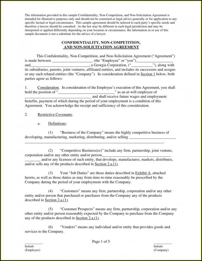 Employee Non Compete Agreement Template