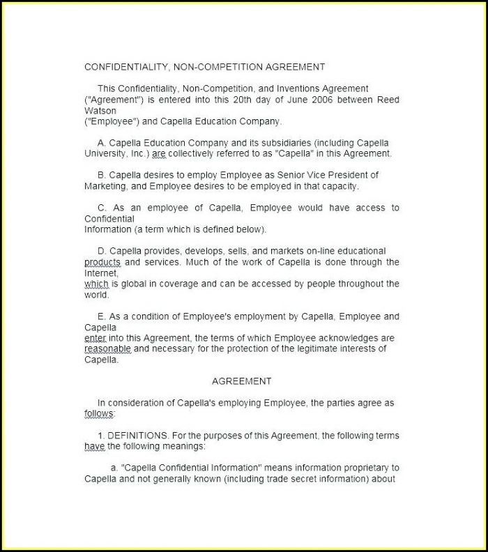 Employee Non Competition Agreement Template