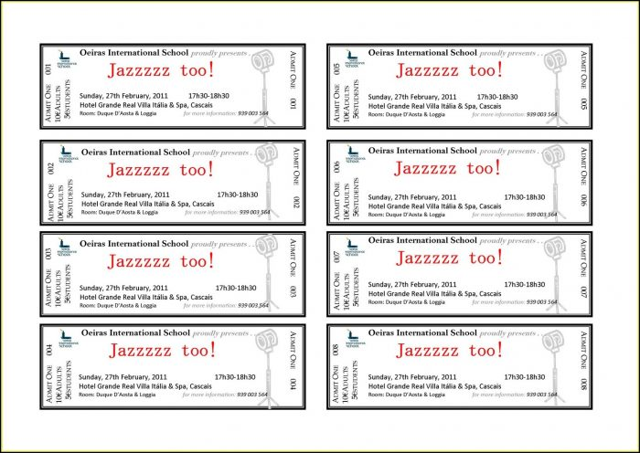 Event Ticket Template Free Download Word