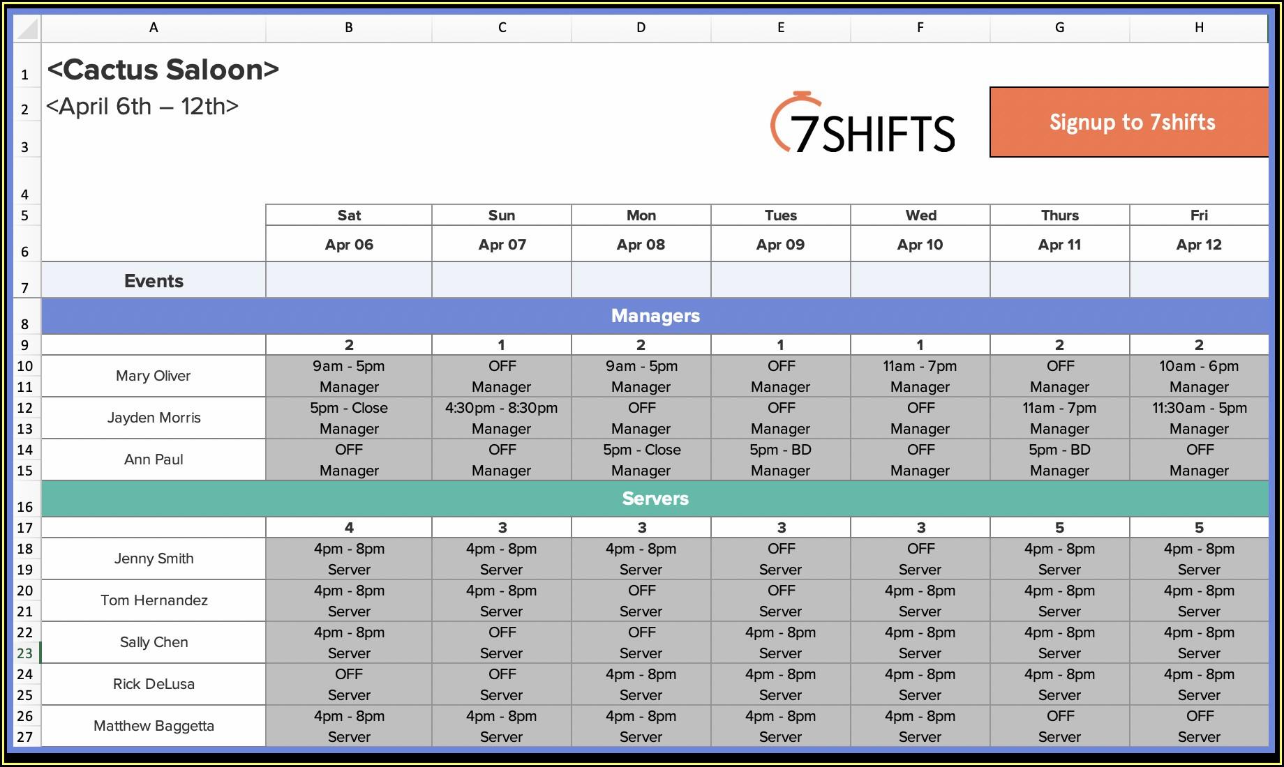 Excel Restaurant Schedule Template
