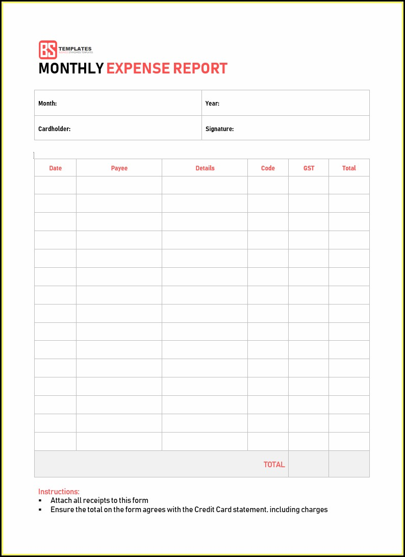 Expense Report Excel Sheet Template