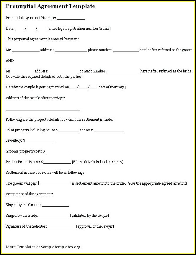 Florida Prenuptial Agreement Template Word