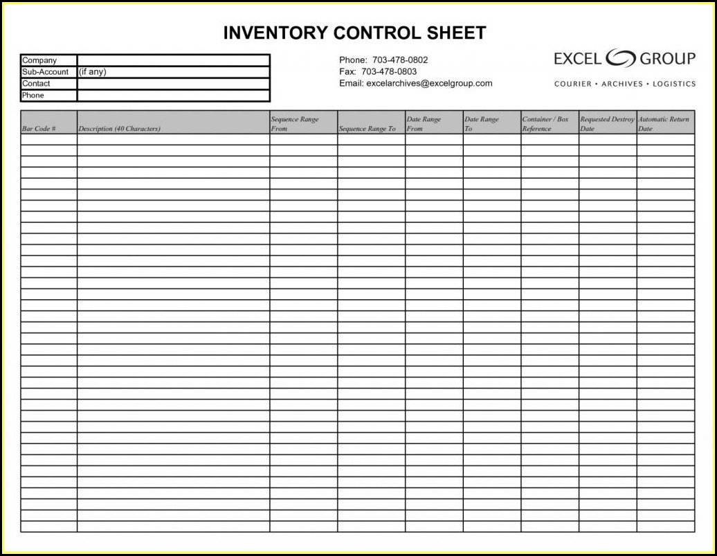 Food Stock Inventory Excel Template