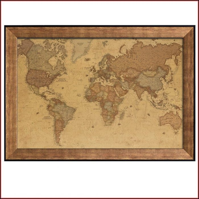 Framed Antique World Map
