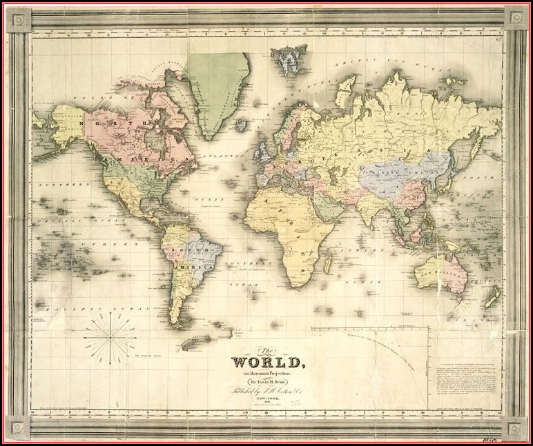 Framed Vintage World Maps For Sale