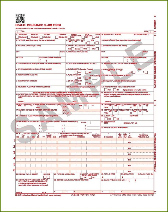 Free 1500 Claim Form Template