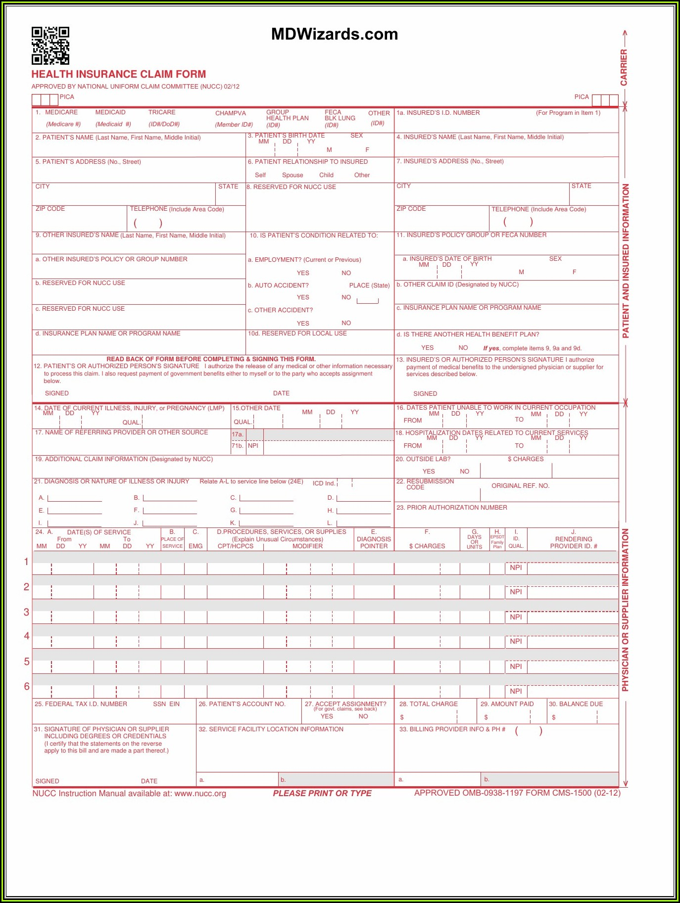 Free 1500 Form Download