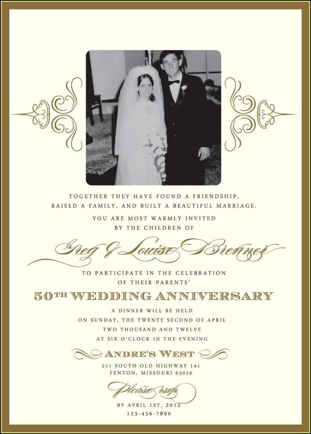 Free 50th Wedding Anniversary Party Invitation Templates