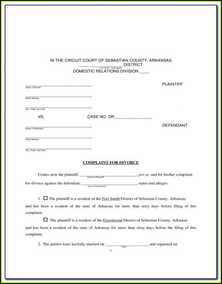 Free Arkansas Divorce Forms Online