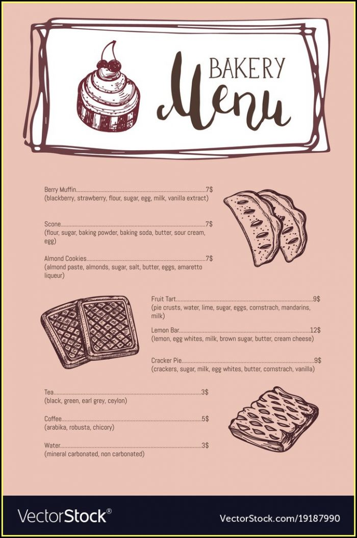 Free Bakery Menu Templates