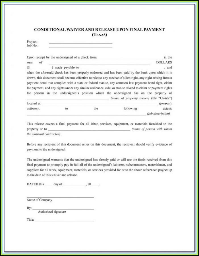 Free Blank Lien Waiver Form Wisconsin